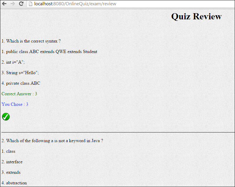 Online Quiz application