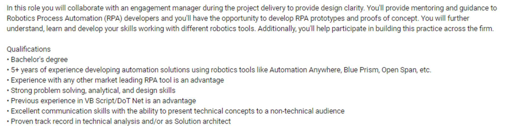 Automation Architect Job Description - RPA Developer Roles and Responsibilities - Eudreka