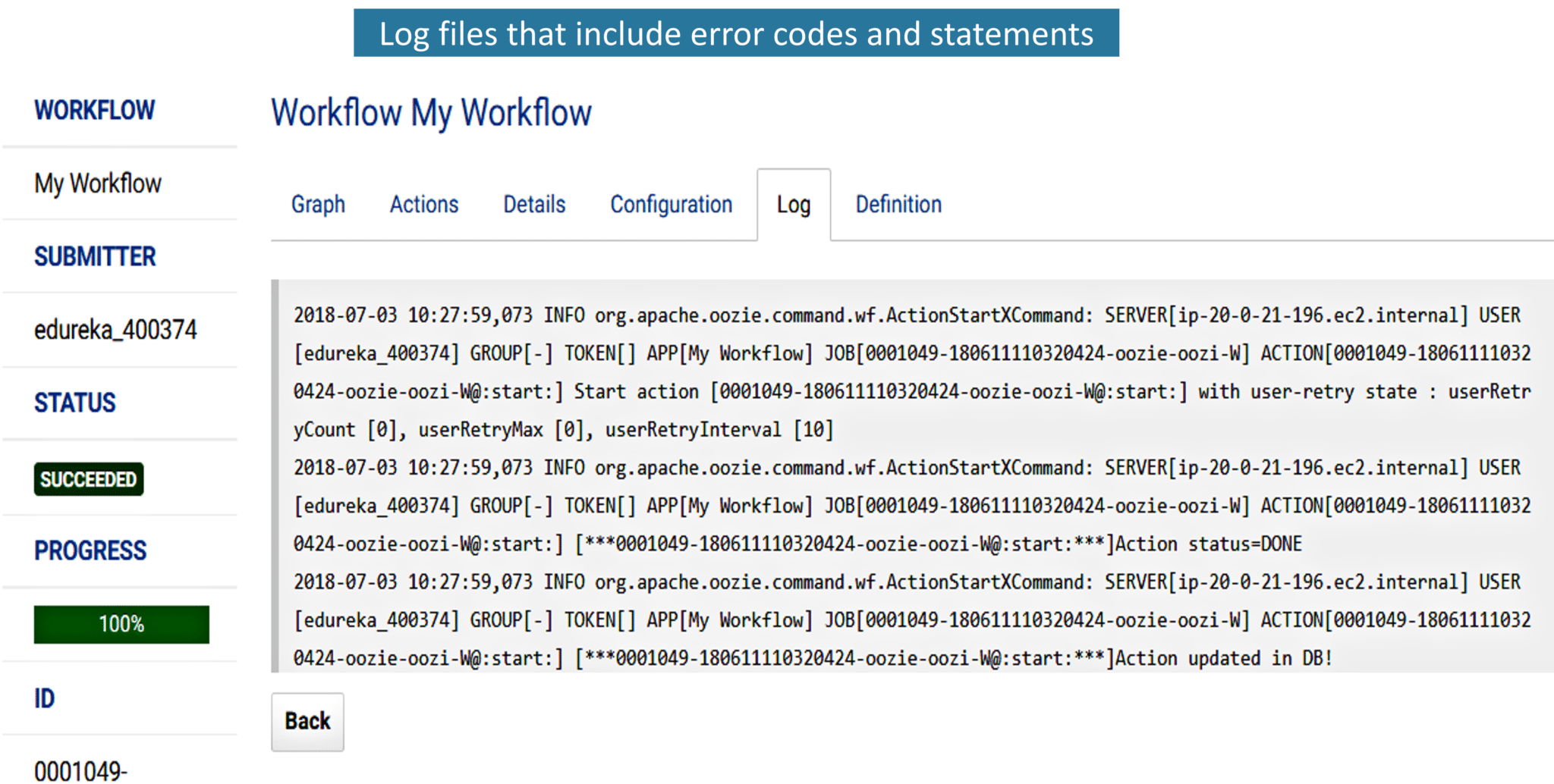 Fig: Log file that contains error codes and error statements