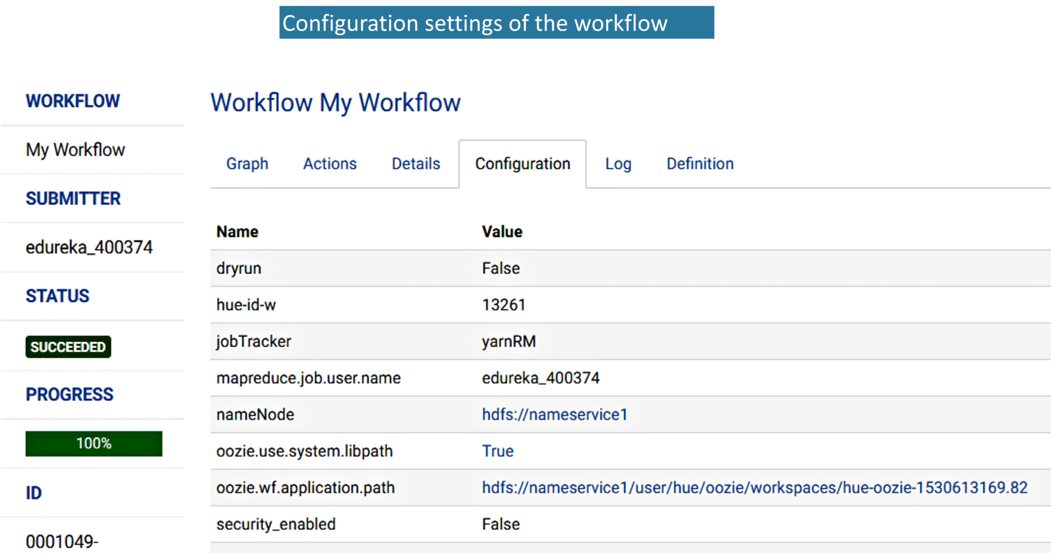 Fig: Configuration settings of the Oozie workflow
