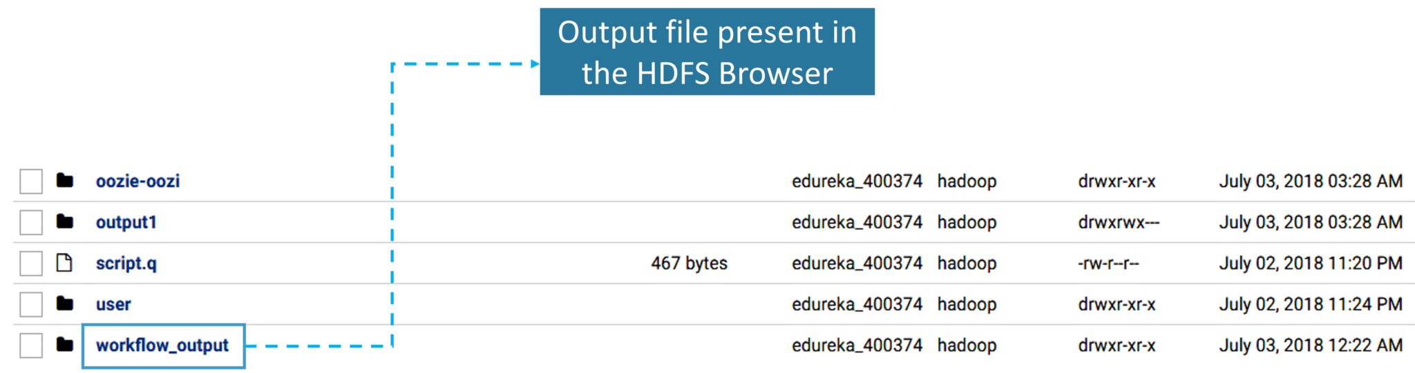 output file of the HDFS browser-Cloudera Hadoop-Edureka