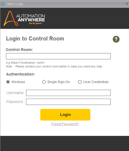 Login To Control Room