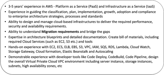 JD by IBM For AWS Solutions Architect