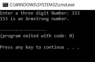 Output - Armstrong Number In C - Edureka