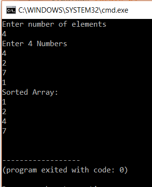 Output - Selection Sort In C - Edureka