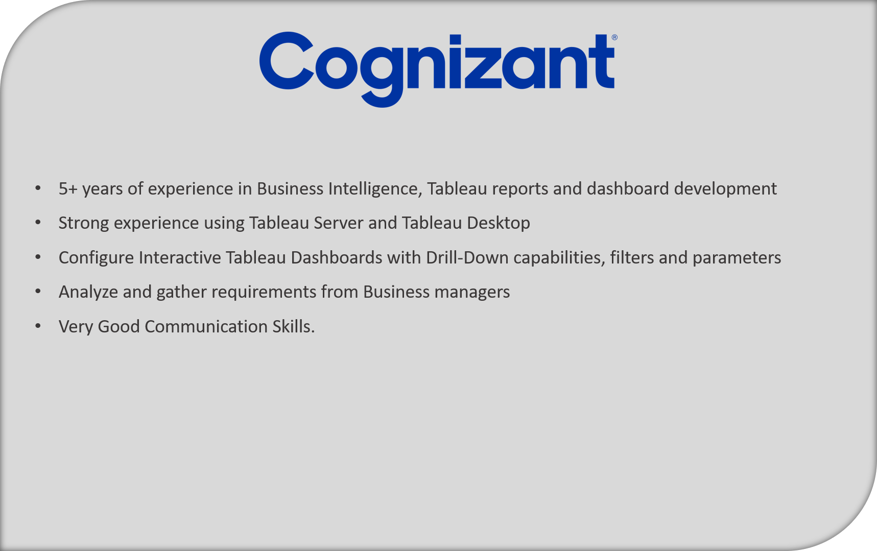 Cognizant job description - Tableau Developer Resume - Edureka