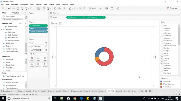 How can I add text in the centre of a Donut Chart