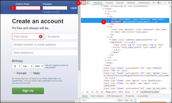 How to get the enter username using ID locator in Facebook