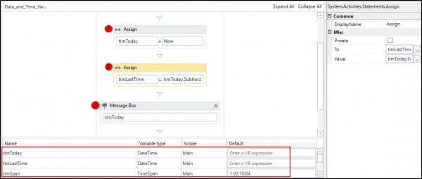 Unable to add date-time variable in UiPath process