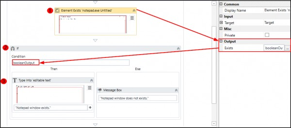 How can I check if an element or window exists using UiPath Studio