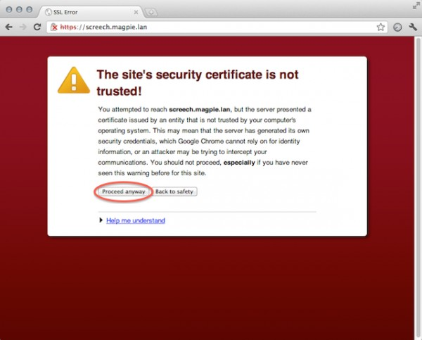 How can I handle certificates when testing pages with