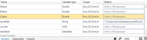 How to find the sum of 2 columns of an excel and display it