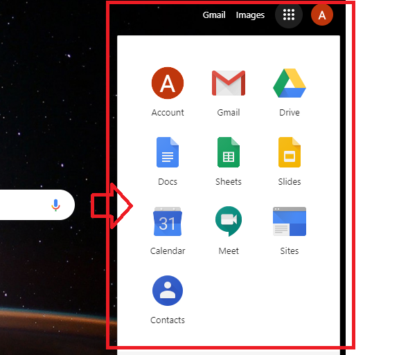 How to open gmail and other menus from Google Apps menu
