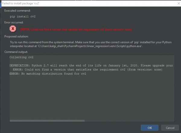 Error while installing cv2 module in pycharm | Edureka Community